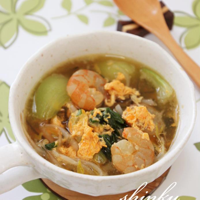 海老とチンゲン菜の塩昆布入り卵とじスープ