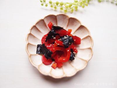 【お弁当のおかず】パプリカの韓国海苔和え
