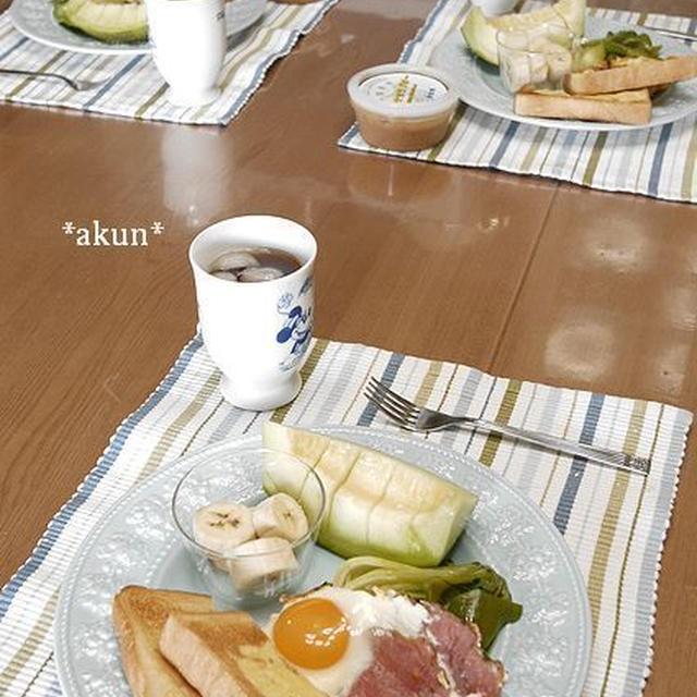 痛いよぉ(>_<) 焼豚エッグとチーズトーストの朝ごはん~421kcal~