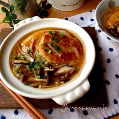 豆腐チキンバーグのキノコあんかけ♡フープロで簡単♪ヘルシー!