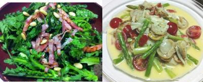 春菊のサラダ、ホタテとアスパラのクリーム煮、ズッキーニのバルサミコ酢豚