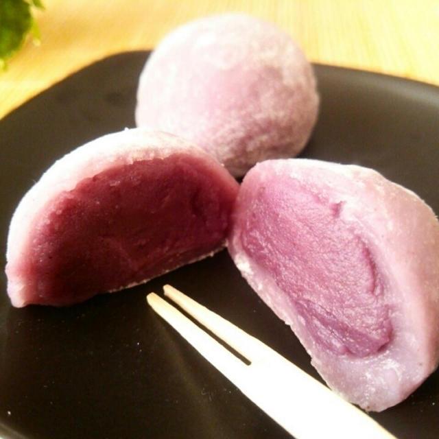 3分でできる求肥!紫芋餡の大福