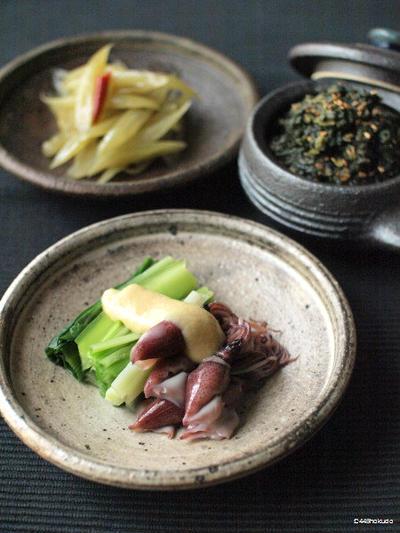 春の味覚、蕗炒り、蕗の葉味噌、うるいの酢味噌。