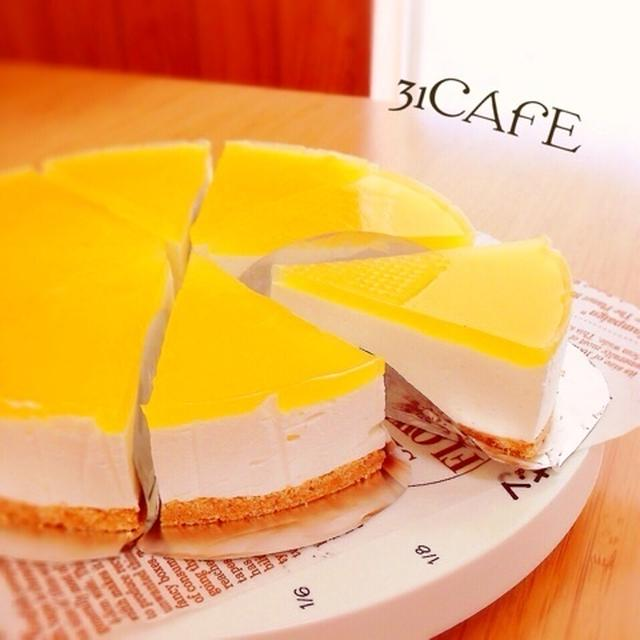 ♡混ぜるだけ♡オーブン不要♡ふわレアチーズwithオレンジゼリー♡【簡単レアチーズケーキ】