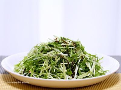お手軽「水菜と塩昆布のシャキシャキサラダ」&久しぶりにまわらないお寿司