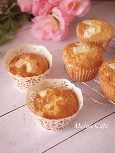 【レシピ】ホットケーキミックスで簡単、焼きチョコの香ばしさ☆ホワイトチョコのカップケーキ(毎日のおやつ、母の日に♪)