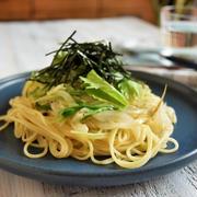 5分で簡単♪しらすと水菜の麺つゆガーリック和風パスタ*簡単*ランチ*麺*時短*