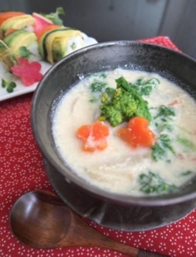 ホタテと菜の花のほんのり酒粕スープ