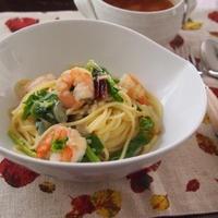 小エビとつぼみ菜のペペロンチーノ