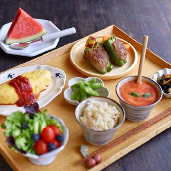 肉詰めピーマンの朝ごはんと ✻ 夏バテ気味の日には