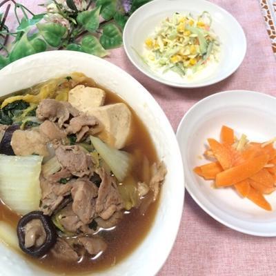 豚肉と白菜のすき煮風、にんじんのみそサラダ、915円!