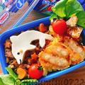 【キャラ弁】鶏そぼろの二色丼イルカ弁当