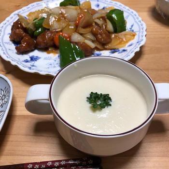 かぶのスープと酢豚♪