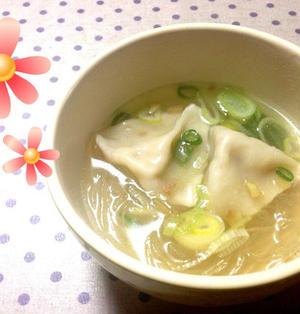 水餃子と春雨の生姜スープ
