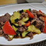 牛肉と夏野菜のオイスター炒め花椒風味