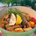 豪快にお鍋のままテーブルへ!! 庭のタイムを摘んで~チキンと野菜のハーブ蒸し焼き