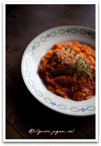ピーマンの肉詰め トマトソース煮込み