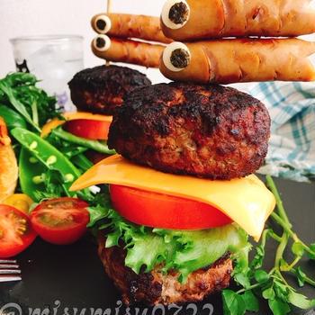 こどもの日に☆鯉のぼりソーセージの肉バーガー