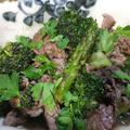 ブルーベリーコンポート牛肉と二種の緑野菜