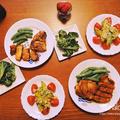 お醤油とにんにくのポークグリルに、アボカドとツナバジルのサラダのお昼ごはん