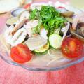 夏野菜とシーフードの冷製スープパスタ by アップルミントさん