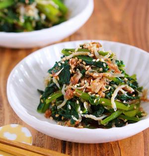 作りおきやお弁当に♪旨味ましまし♪『じゃこポンおかか de 無限小松菜』
