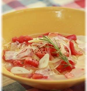 おかかトマトのスープパスタ。