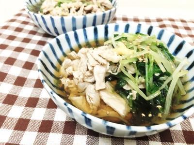 簡単《水菜と冷しゃぶの冷たい煮浸し》と献立