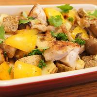 ナムルの素で鶏肉とじゃがいもの炒め和え