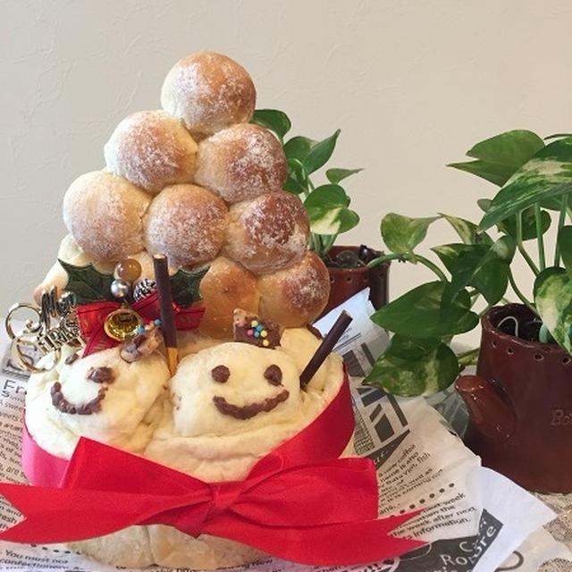 ケーキの代わりに雪だるま・クリスマスバージョンのちぎりパン~初めて作りました♪♪