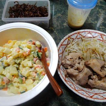 手抜き味噌汁と生姜焼きとポテサラ★ありふれた夕飯