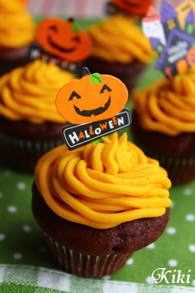 ふわもこココアカップケーキ~かぼちゃのモンブラン仕立て~