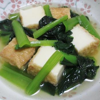 小松菜と絹揚げのしっとり煮<簡単♪超速>