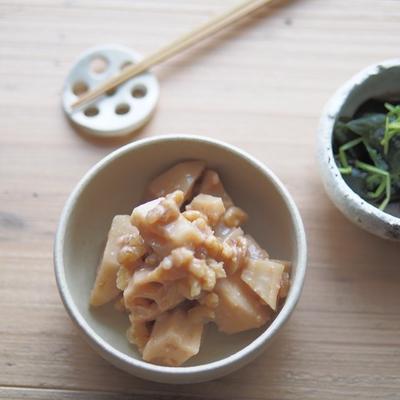 【レシピ】レンコンの香ばしくるみ味噌和えとその日の献立、美容効果がたくさんの味噌の栄養成分