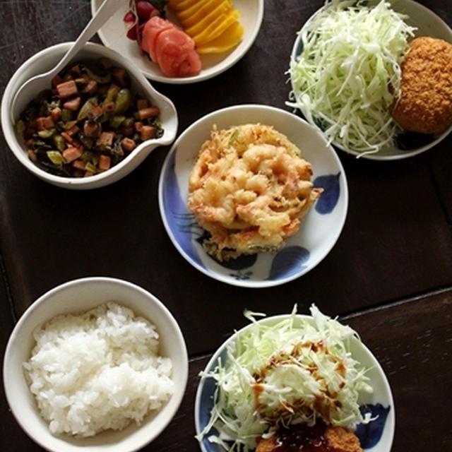 スパムと高菜漬けの【油炒め】