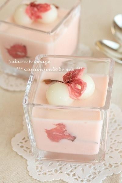桜のチーズデザート(冷たいお菓子)