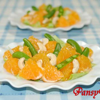 ポンダリン(デコポン)とスナップエンドウのサラダ ☆カシューナッツ添え 【味わいすっきり♪レモンドレッシングで】