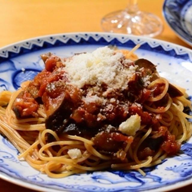 秋茄子のトマトソース スパゲティ