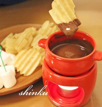 チョコポテチなど*板チョコ1枚で手軽にチョコレートフォンデュ♡