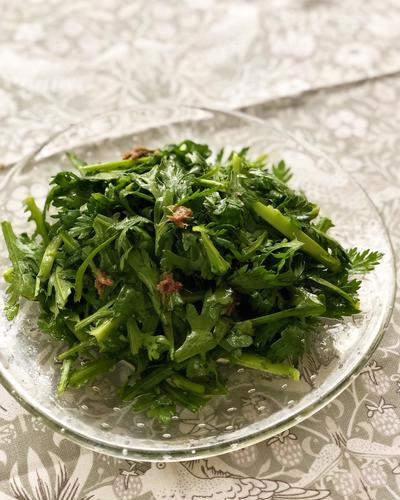 ★レシピ★これってマリアージュよね♪春菊とアンチョビのサラダ