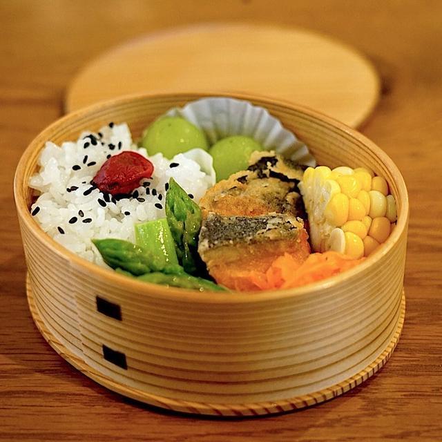 2019/7/9 おべんとうメモ。鮭の竜田揚げ弁当