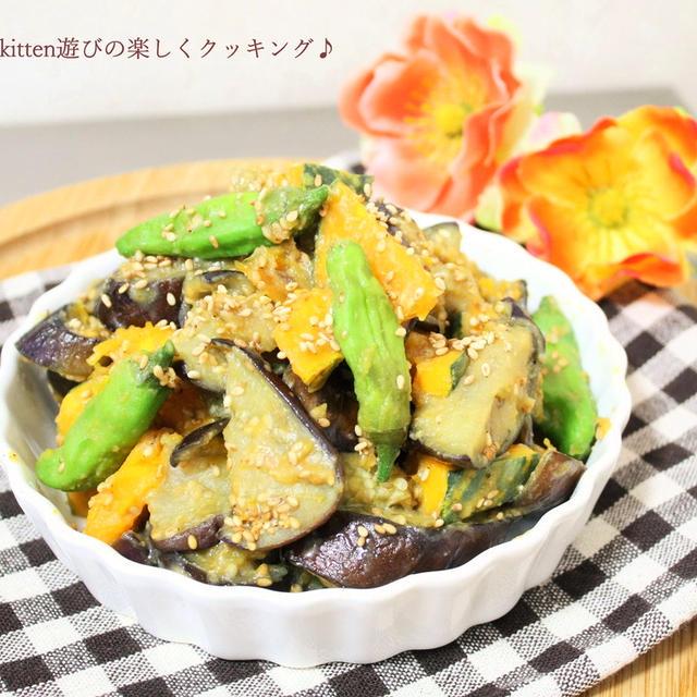 ひと夏に何回作る!? 夏野菜の定番♪ナスとカボチャの甘味噌炒め