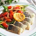 【レシピ・主菜】まぶして焼くだけ簡単♡鱒のムニエル トマトとマッシュルームソテー添え