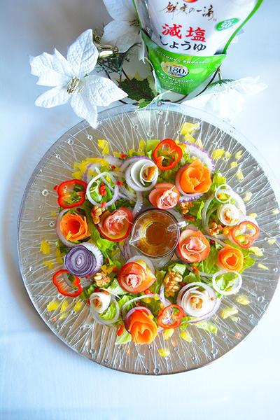 ベジタブル&フルーツのお花サラダ  投票でナハトマンの高級プレート当たるチャンス付です