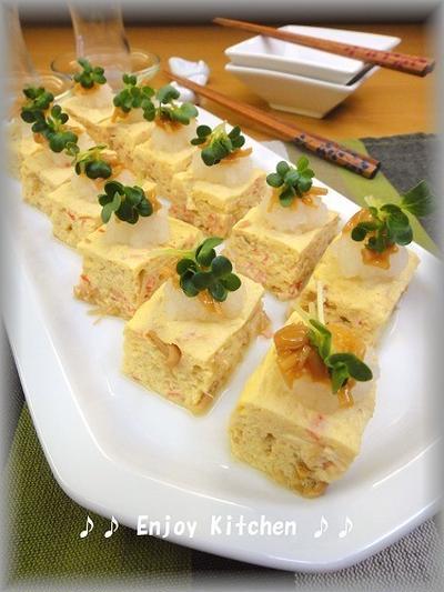 【レンジで簡単!】レンジで簡単!なめ茸とカニカマの豆腐入りふんわりだし卵