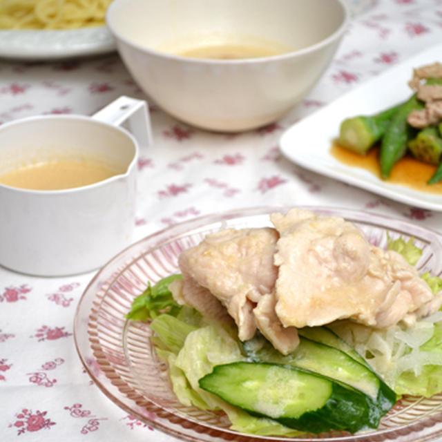鶏冷しゃぶ。豆乳ごまだれつけ麺。の晩ご飯。