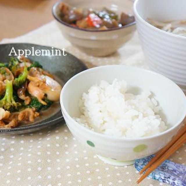 帆立とブロッコリーのバター醤油炒めとマルちゃん正麺との定食