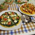 うれしいつくれぽ♪とジャガイモ生地のもちフワピザ2種**豚キムチ・ほうれん草バジル**
