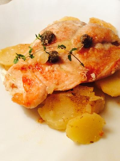 鶏むね肉のレモンバターソース