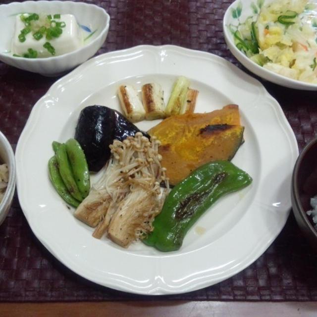 【献立】グリル野菜&グリルポーク、冷奴、キャベツときゅうりの即席お漬物、玄米ご飯